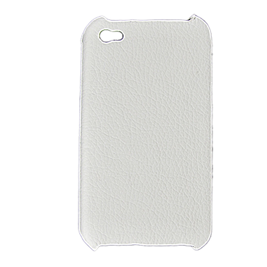 White Faux Leather Coated Hard Back Case Cover for iPhone 4 4G