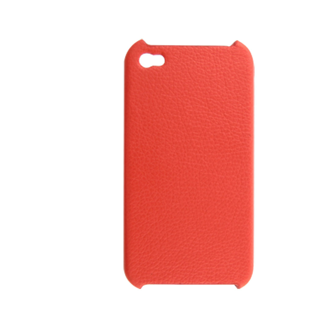 Red Faux Leather Coated Plastic Back Cover for Apple iPhone 4