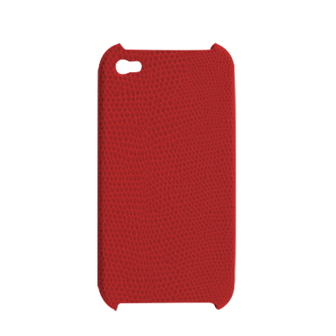 Red Snake Pattern Faux Leather Coated Hard Plastic Back Cover for iPhone 4