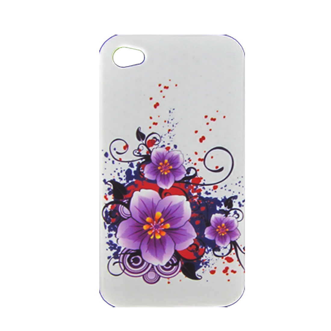 Floral Printed Soft Plastic White Cover w Dustproof Stopper for iPhone 4