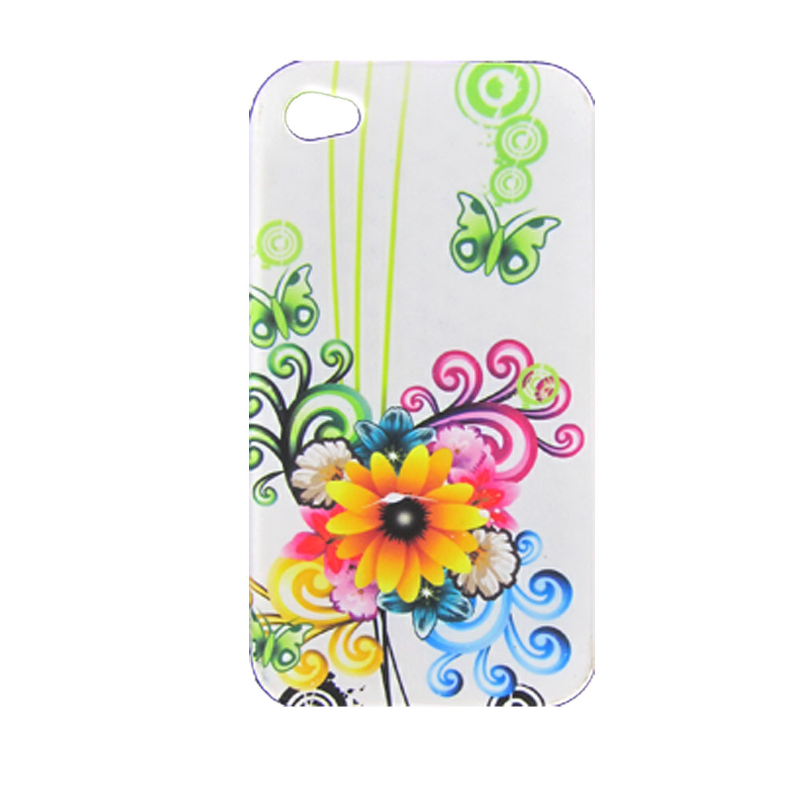 Colorful Flower Print Soft Plastic Back Case + Dust-free Stopper for iPhone 4 4G