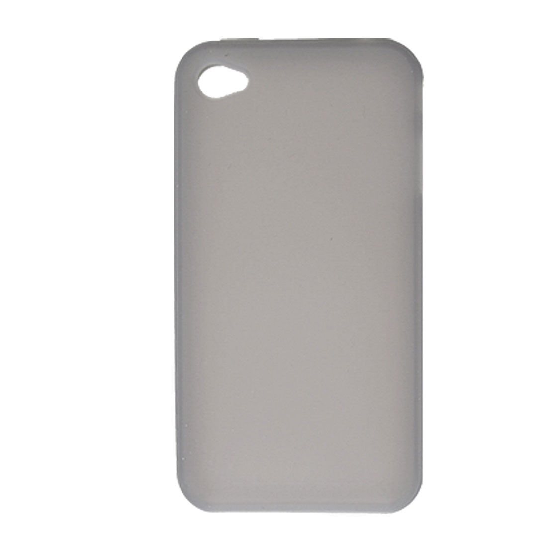 Gray Silicone Skin Back Case + Dust-free Stopper for Apple iPhone 4 4G