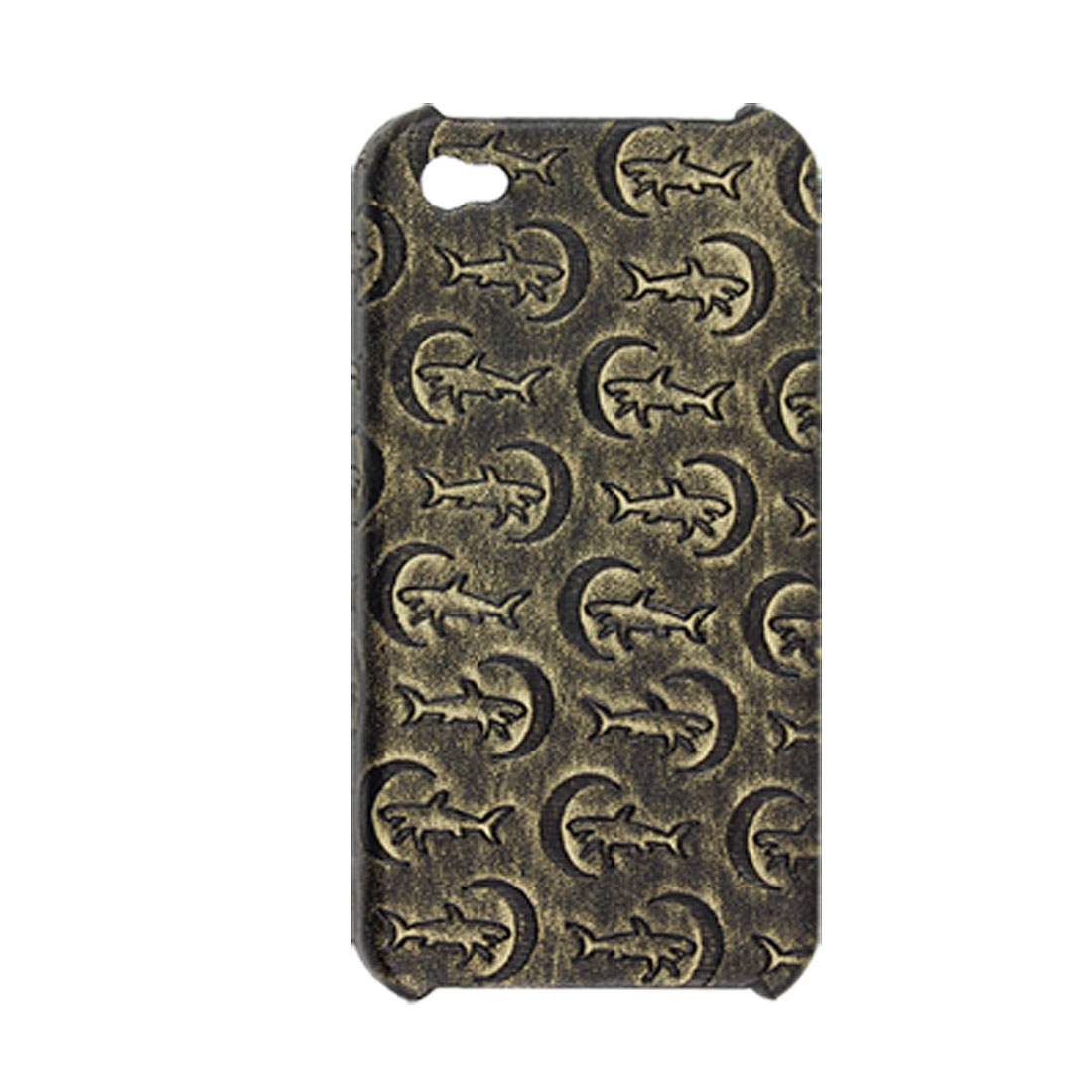 Faux Leather Coated Shark Moon Pattern Hard Plastic Case for iPhone 4 4G