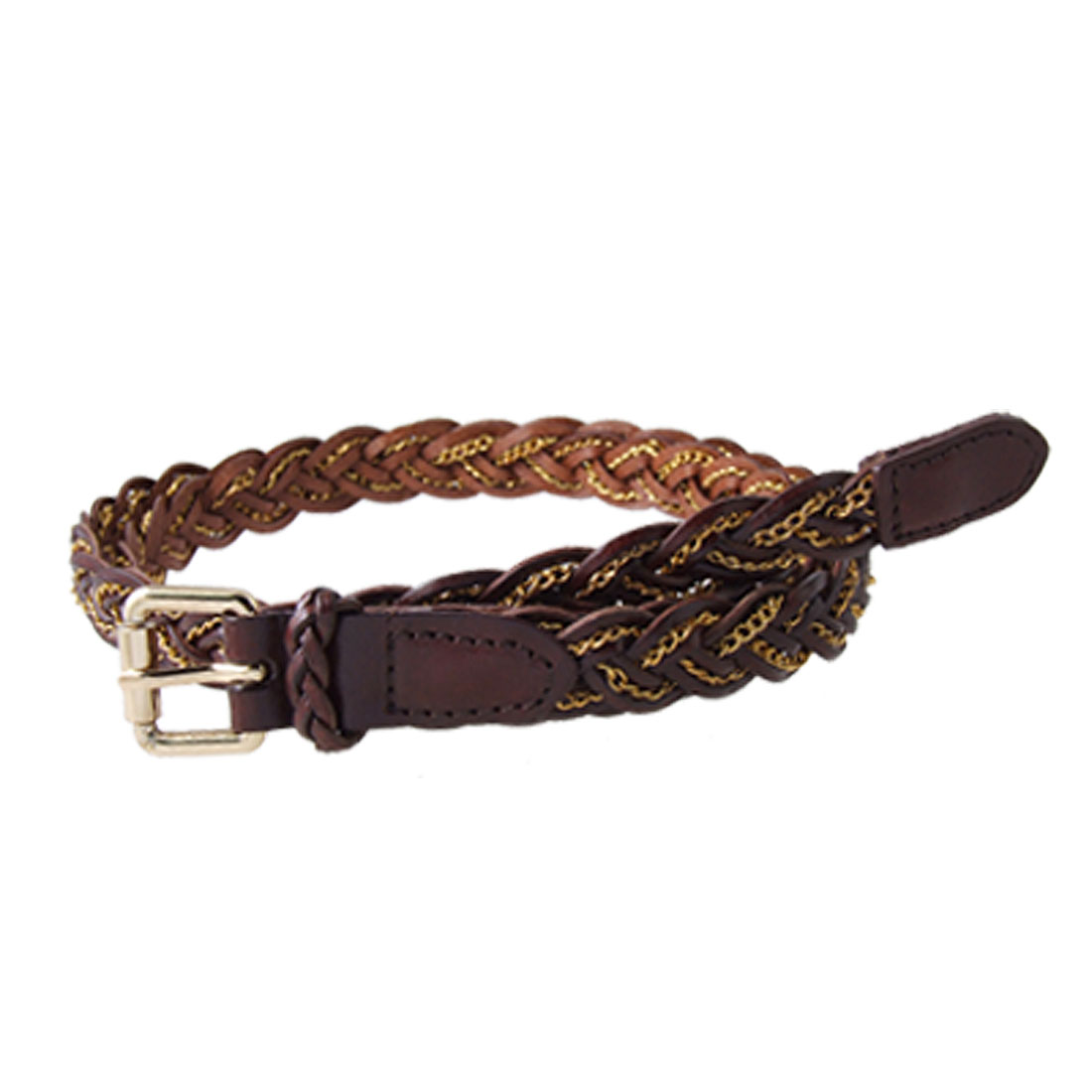 Coffee Gold Tone Braid Style Faux Leather Belt for Ladies