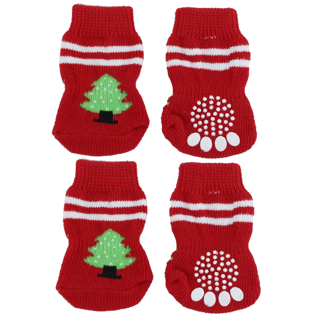 Tree Pattern Knitted Walking Bootie Non-slip Warm Socks Red 4pcs for Pet Dog