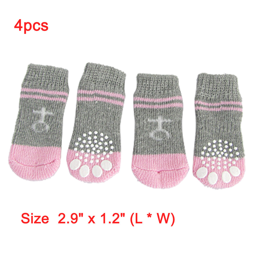 Pink Gray Nonslip Warm Knitted Socks Bootie for Pet Dog