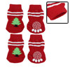 4 PCS Tree Pattern Knitted Nonslip Walking Bootie Sock Red for Dog