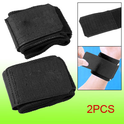 2Pcs Black Elastic Neoprene Hook and Loop Fastener Wrist Support Brace