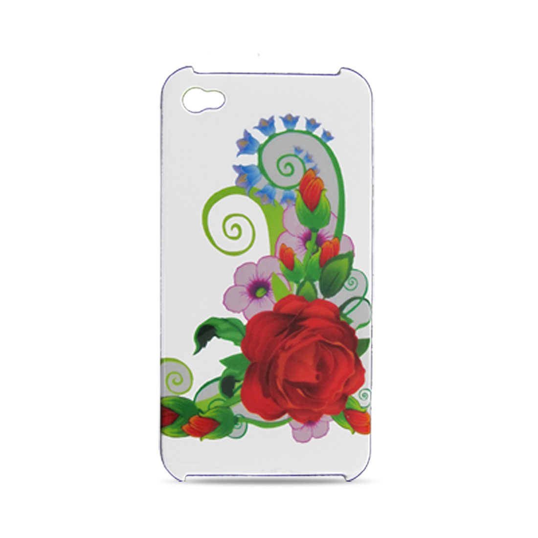 Rose Pattern Plastic Case + Anti-dust Plug for iPhone 4 4G