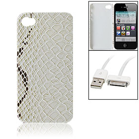 Snakeskin Style Faux Leather Coated Hard Plastic Cover + Data Cable for iPhone 4