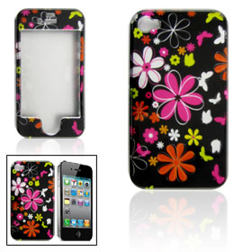Colorful Flower Pattern Hard Plastic Cover for iPhone 4