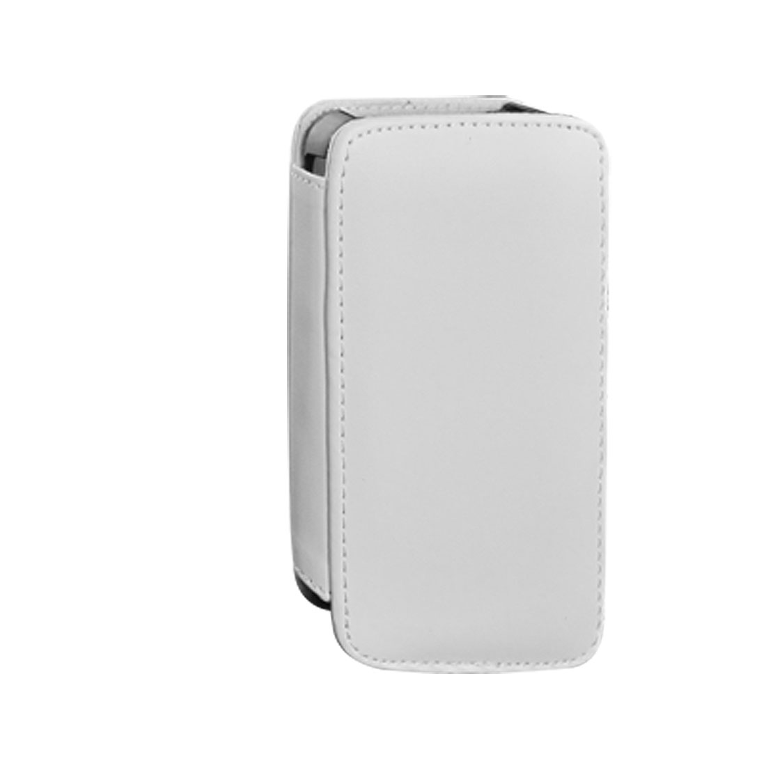 White Faux Leather Side Magnetic Button Colsure Pouch Case for iPhone 4 4G