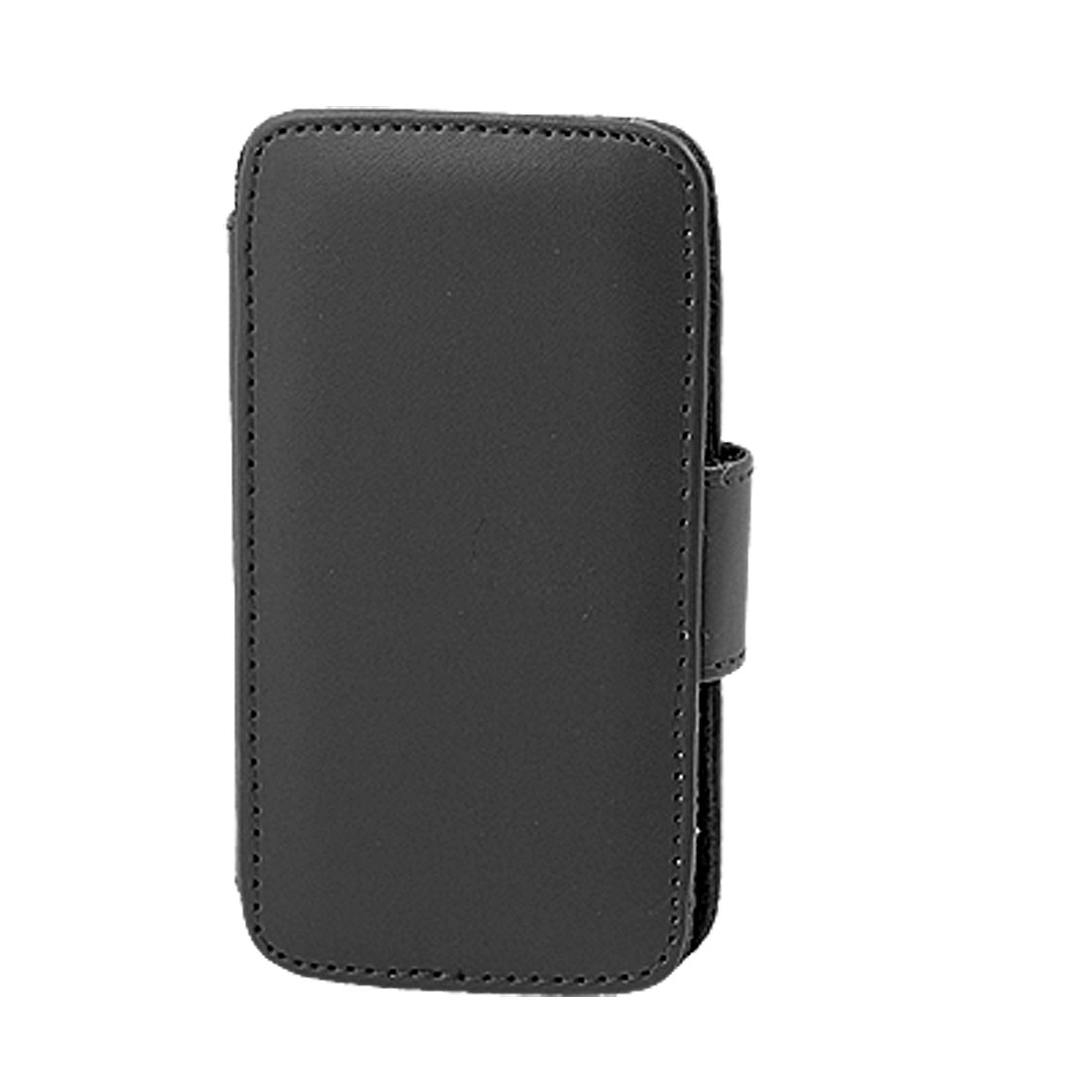 Black Faux Leather Magnetic Closure Case for iPhone 4 4G