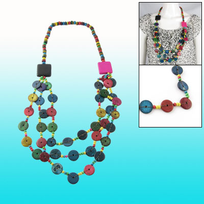 Coconut Shell Square Charm Beads String Layered Long Necklace