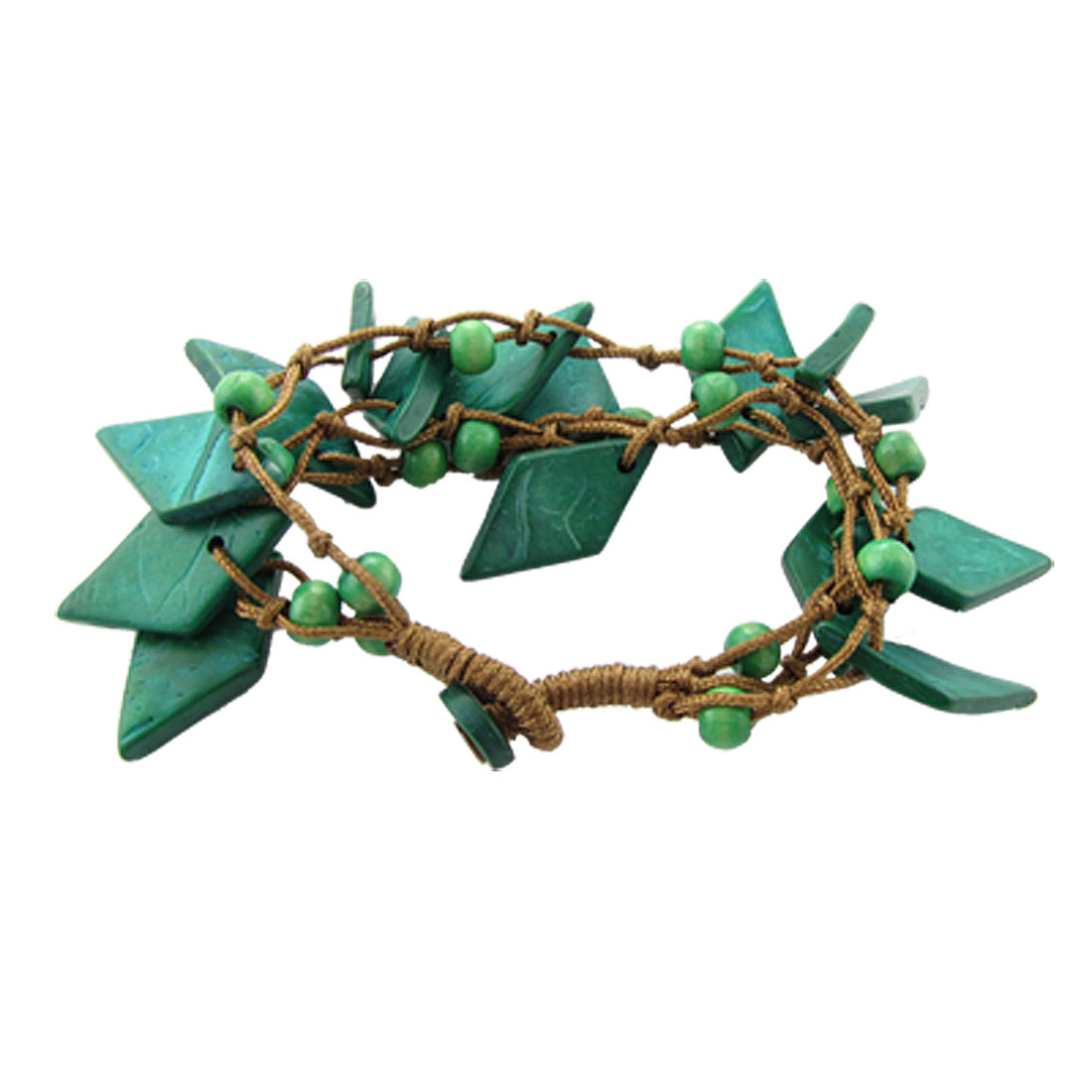 Green Rhombus Beads Coconut Shell Charm Bracelet for Ladies