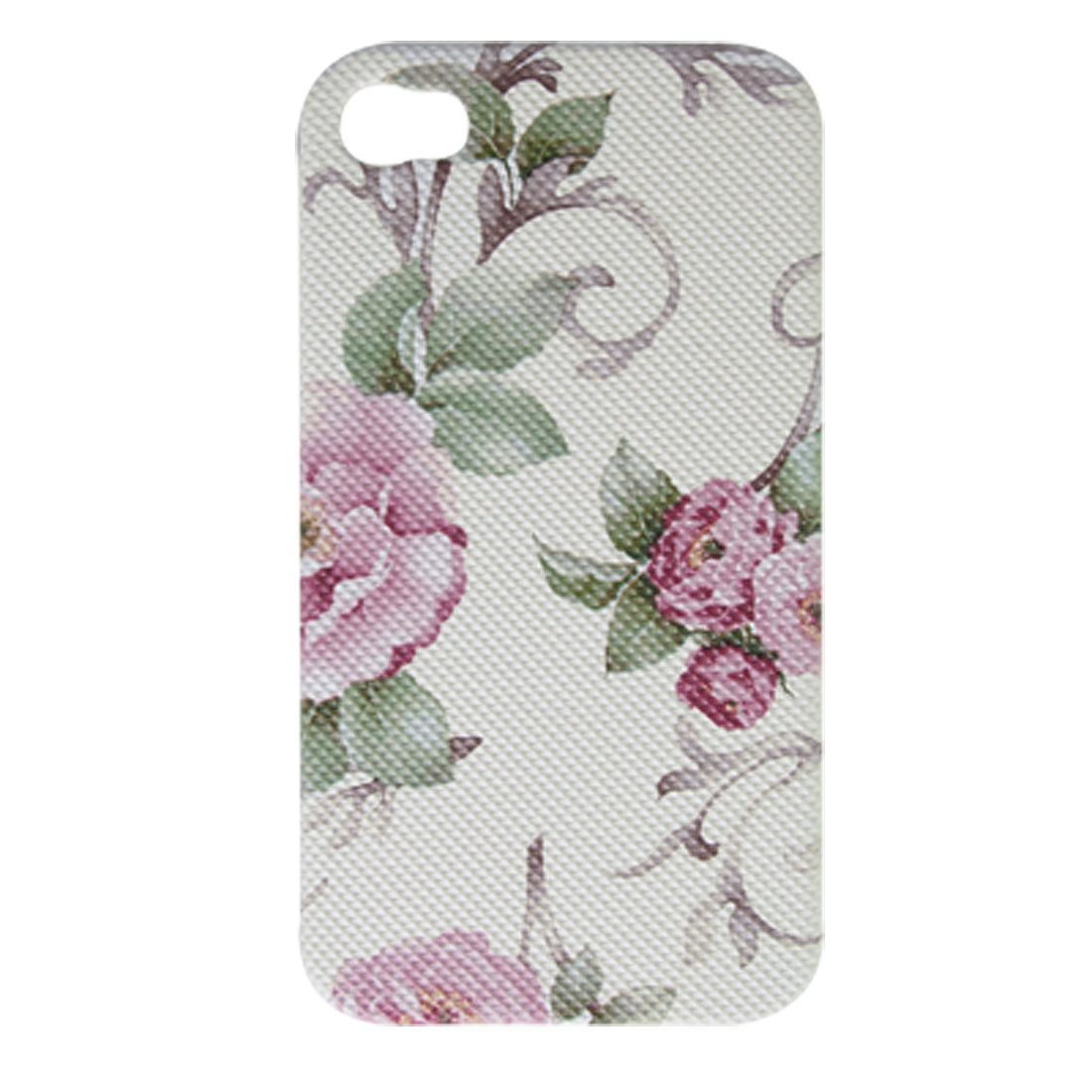 Peony Style White Hard Case + USB Data Cord for iPhone 4 4G