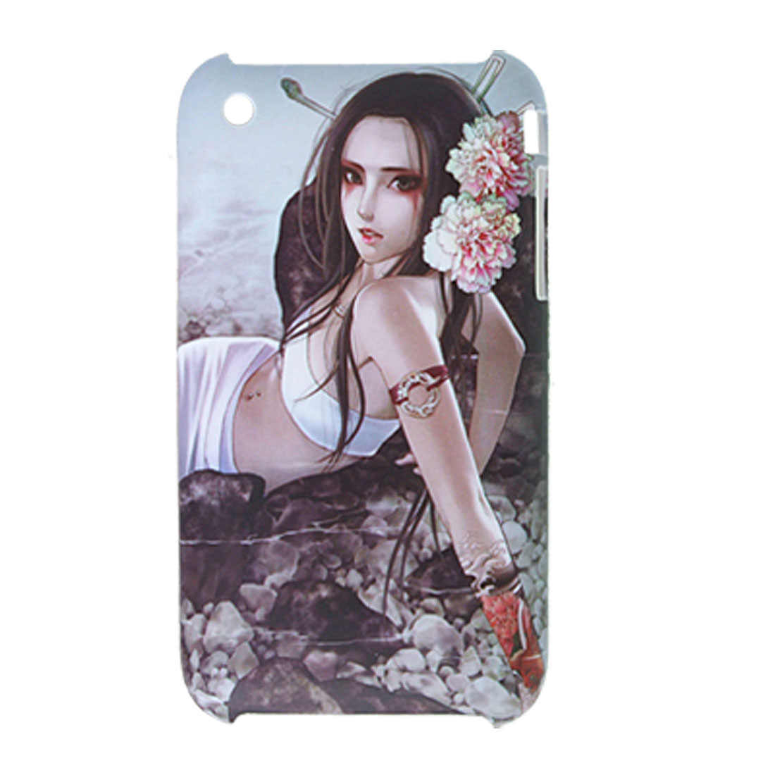 Girl w Peony Rubberized Hard Plastic Case for iPhone 3G