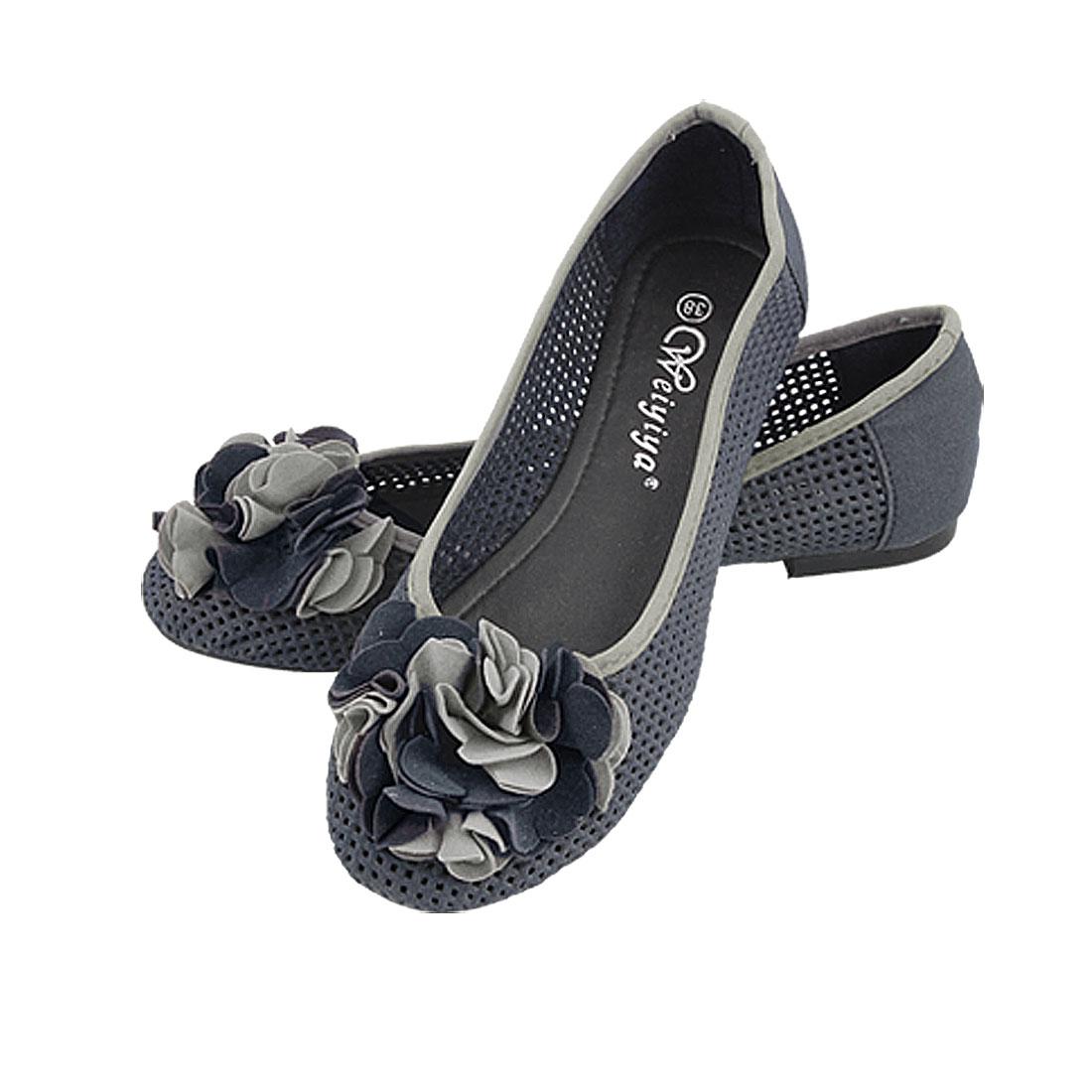 Ladies Blue Flower Hole Shoes Flat Pumps US 7.5