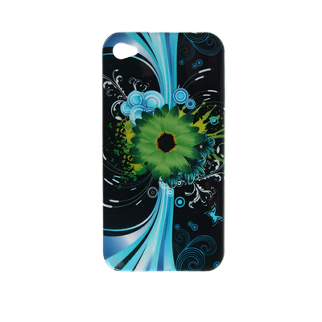 Green Daisy Pattern Hard Plastic Back Case for iPhone 4 4G