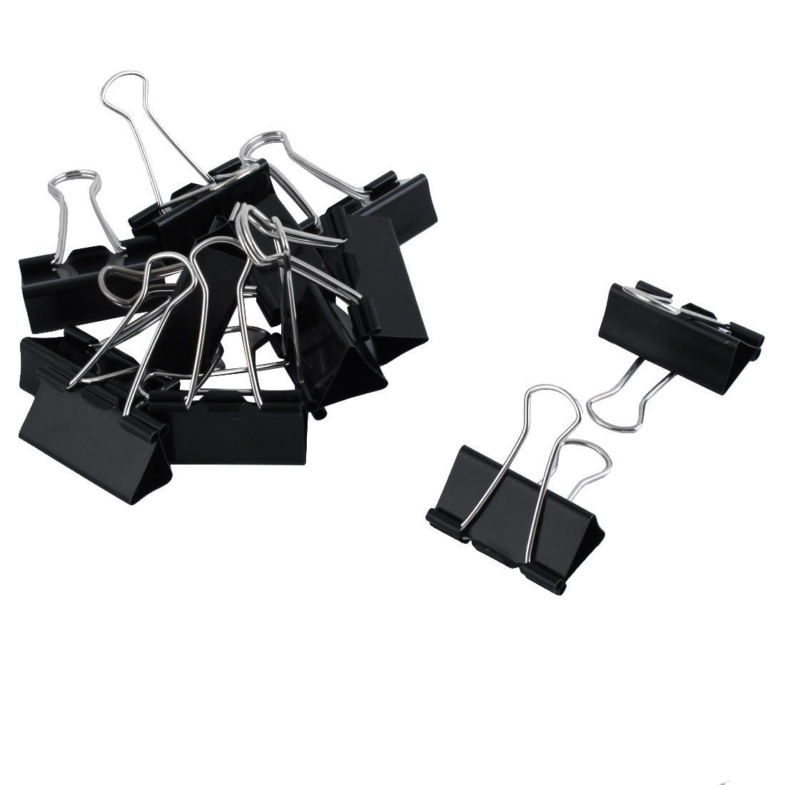 One Dozen 40mm Width Black Metal Office Binder Clips Clamps