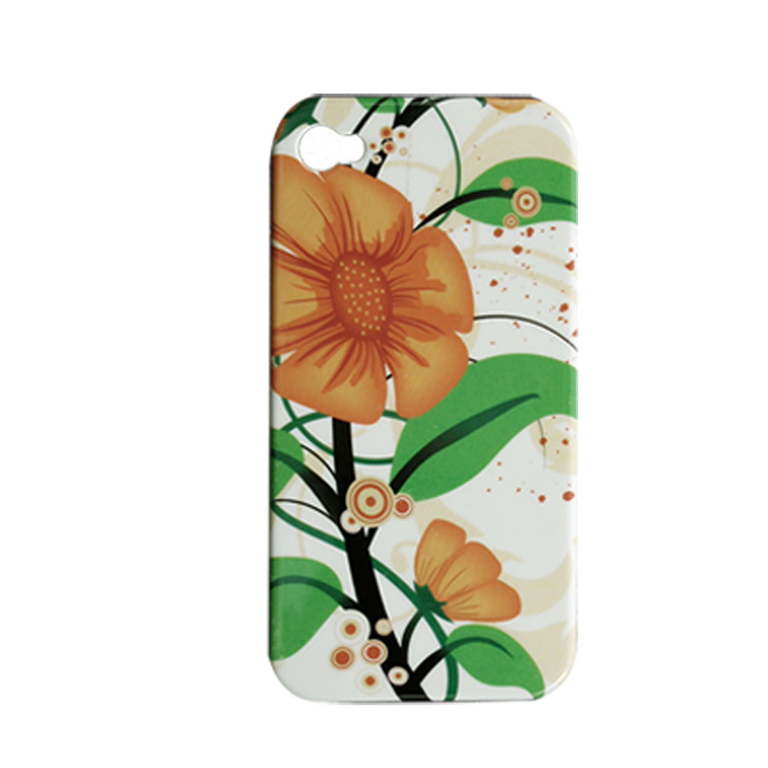 Hard Plastic Orange Flower Back Skin + Data Cable for iPhone 4