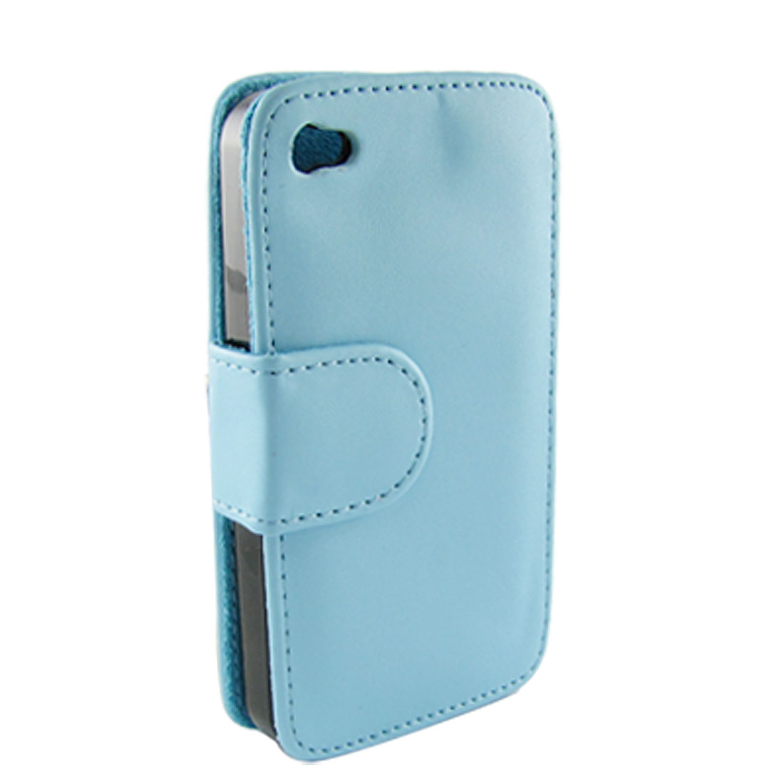 Baby Blue Faux Leather Flip Protective Cover for iPhone 4