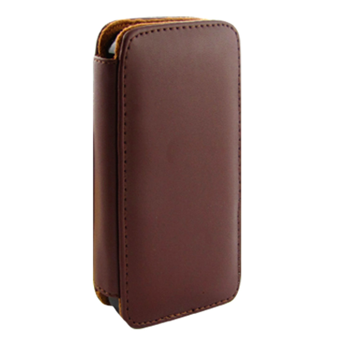 Brown Faux Leather Flip Style Pouch Cover for iPhone 4