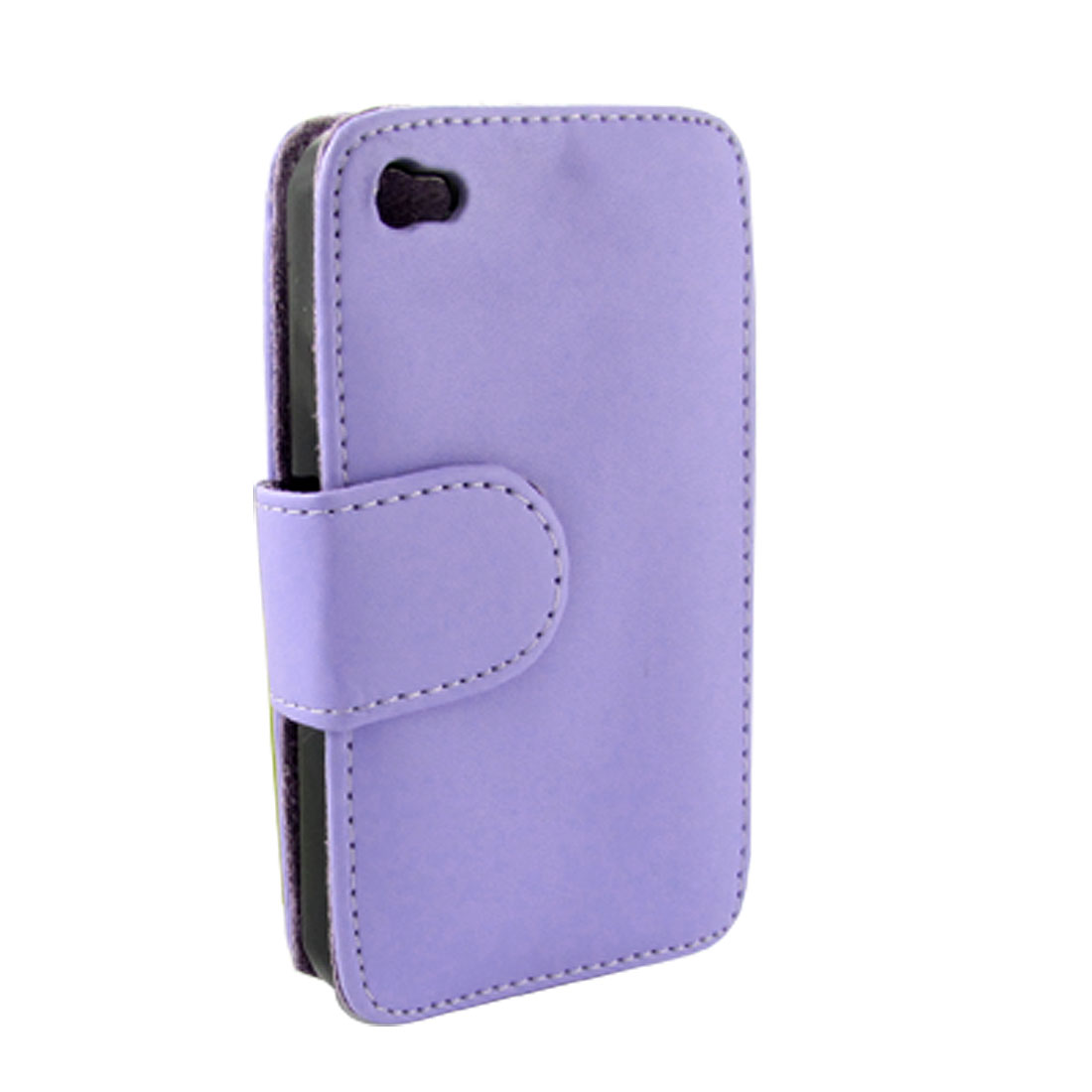 Light Purple Faux Leather Flip Protective Holder Cover for iPhone 4