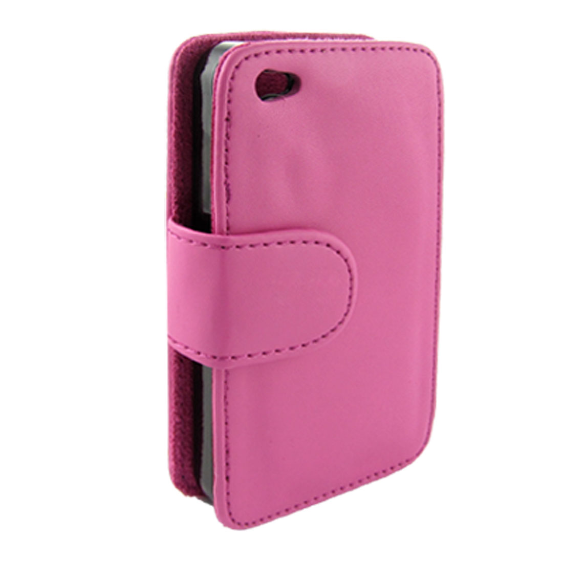 Dark Pink Faux Leather Flip Protective Holder Cover for iPhone 4