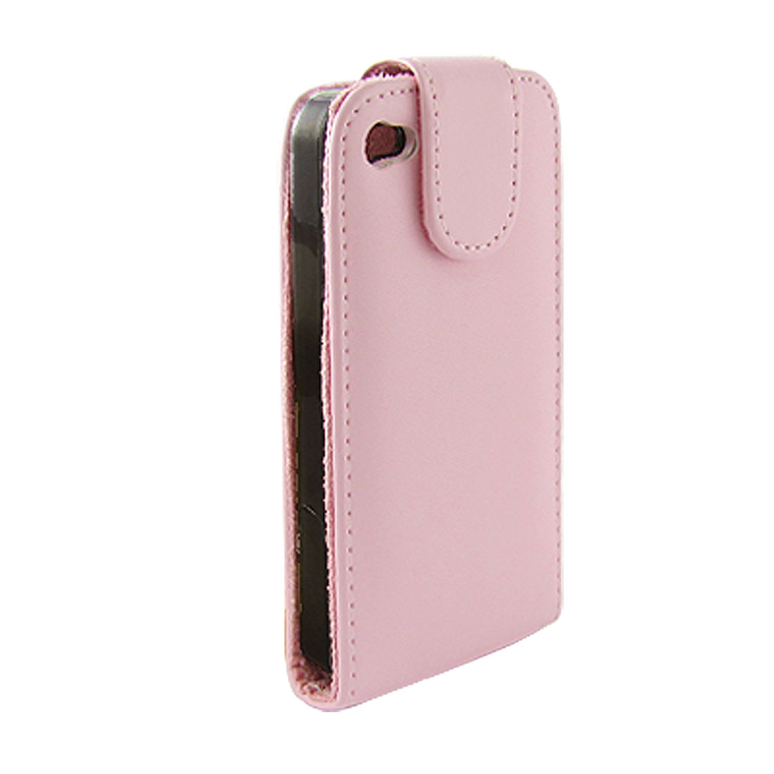 Pink Topstitching Faux Leather Flip Pouch for iPhone 4