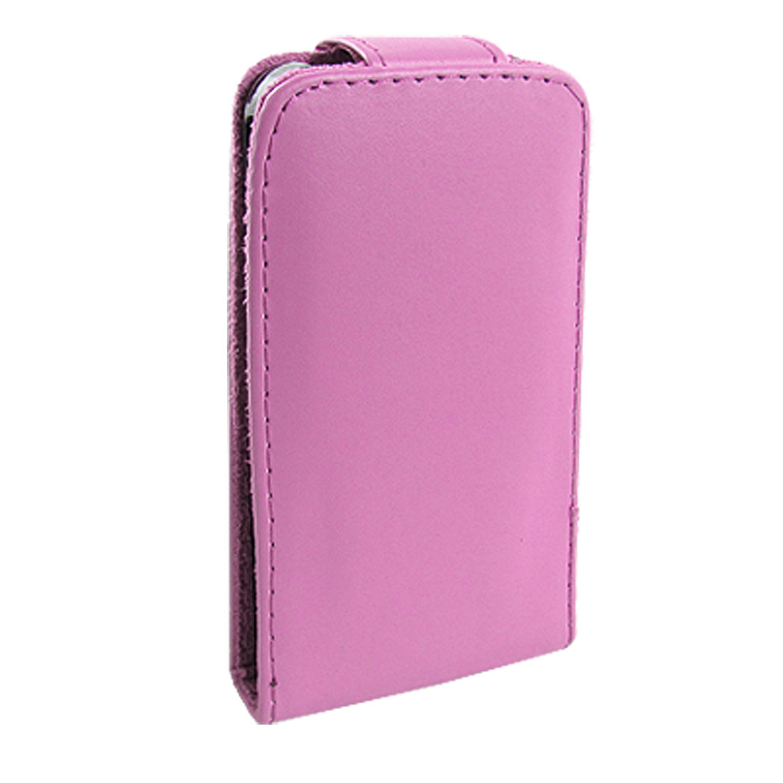 Fuchsia Faux Leather Vertical Flop Pouch for iPhone 4