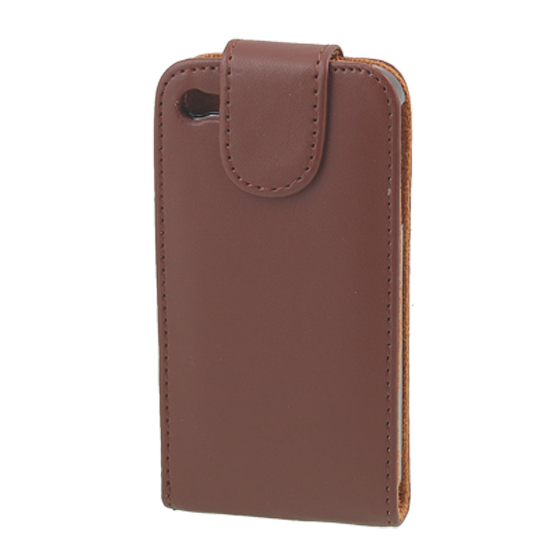 Brown Vertical Magnetic Flap Faux Leather Pouch for iPhone 4