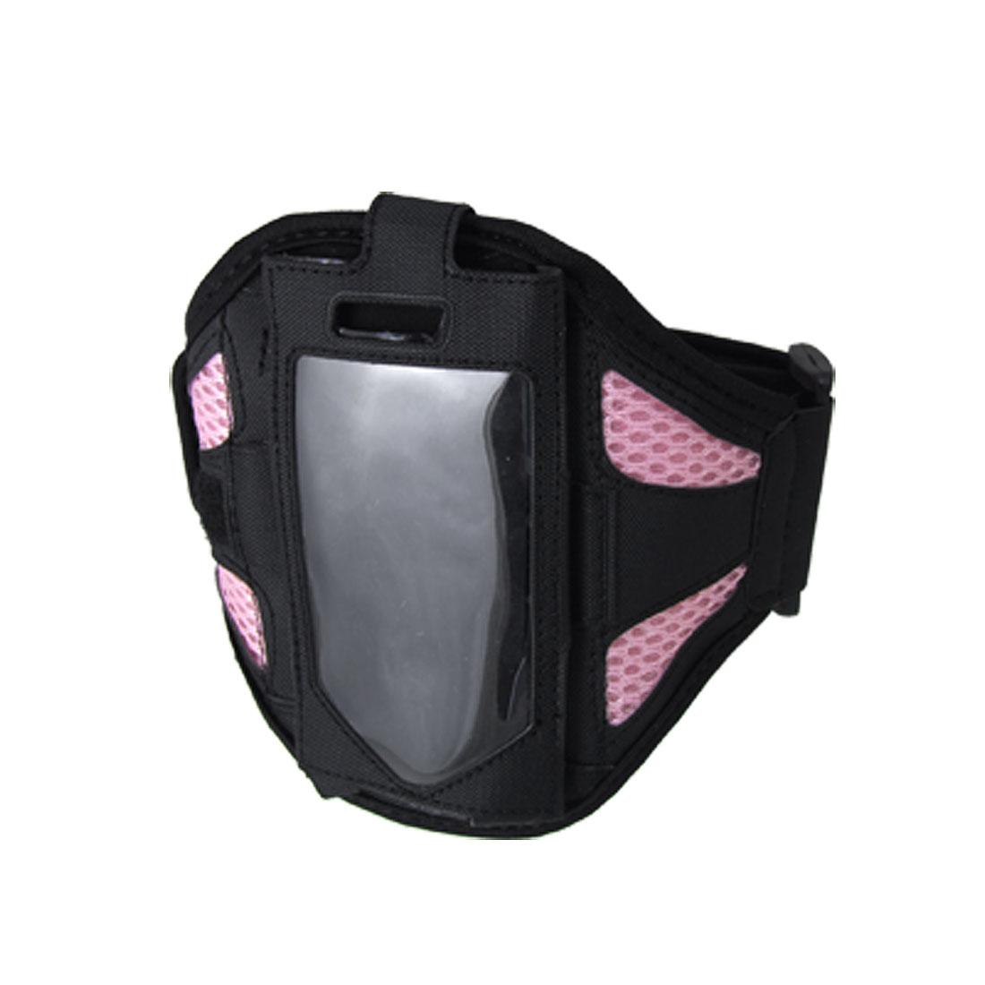 Black Pink Mesh Design Sports Adjustable Holder Armband for Cell Phone