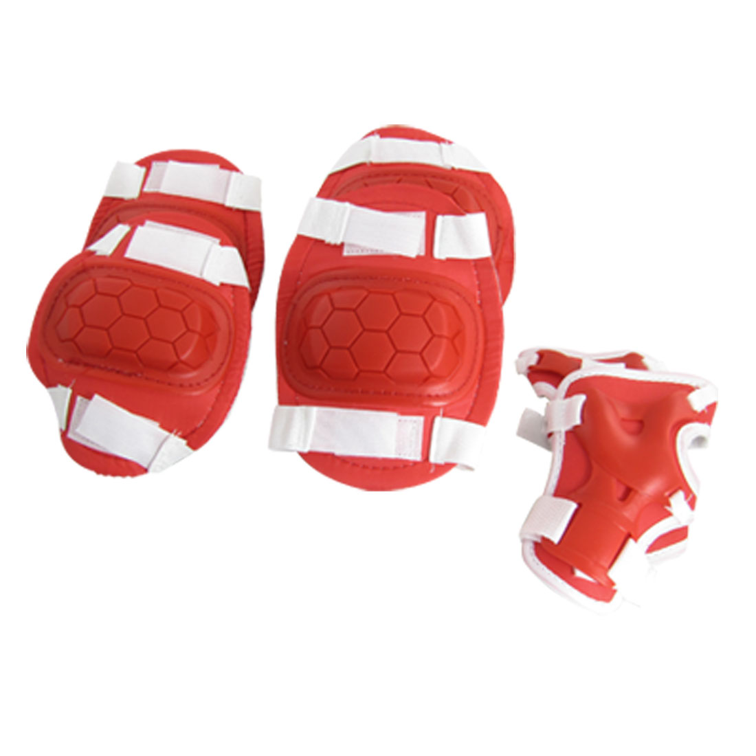 Red White Knee Elbow Wrist Support Skate Sports Protector for Junior