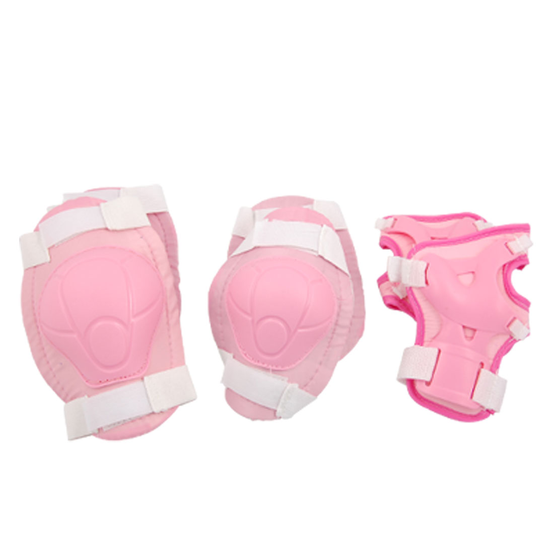 Kids' Pink White Skate Knee Elbow Wrist Sports Support Protector
