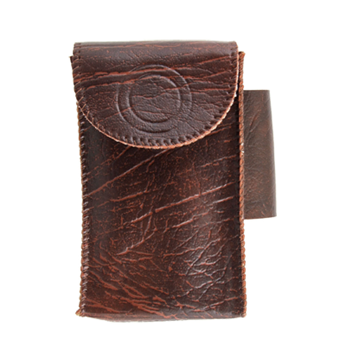 Brown Textured Faux Leather Cigarette Pouch w Lighter Holder
