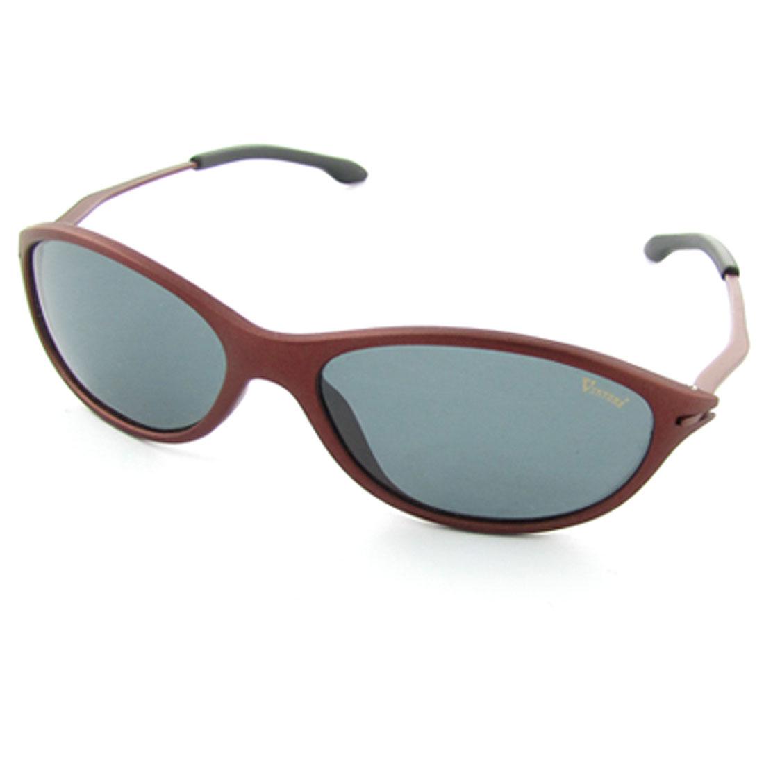 Dark Red Rubberized Metal Full Frame Polarized Sunglasses w Case