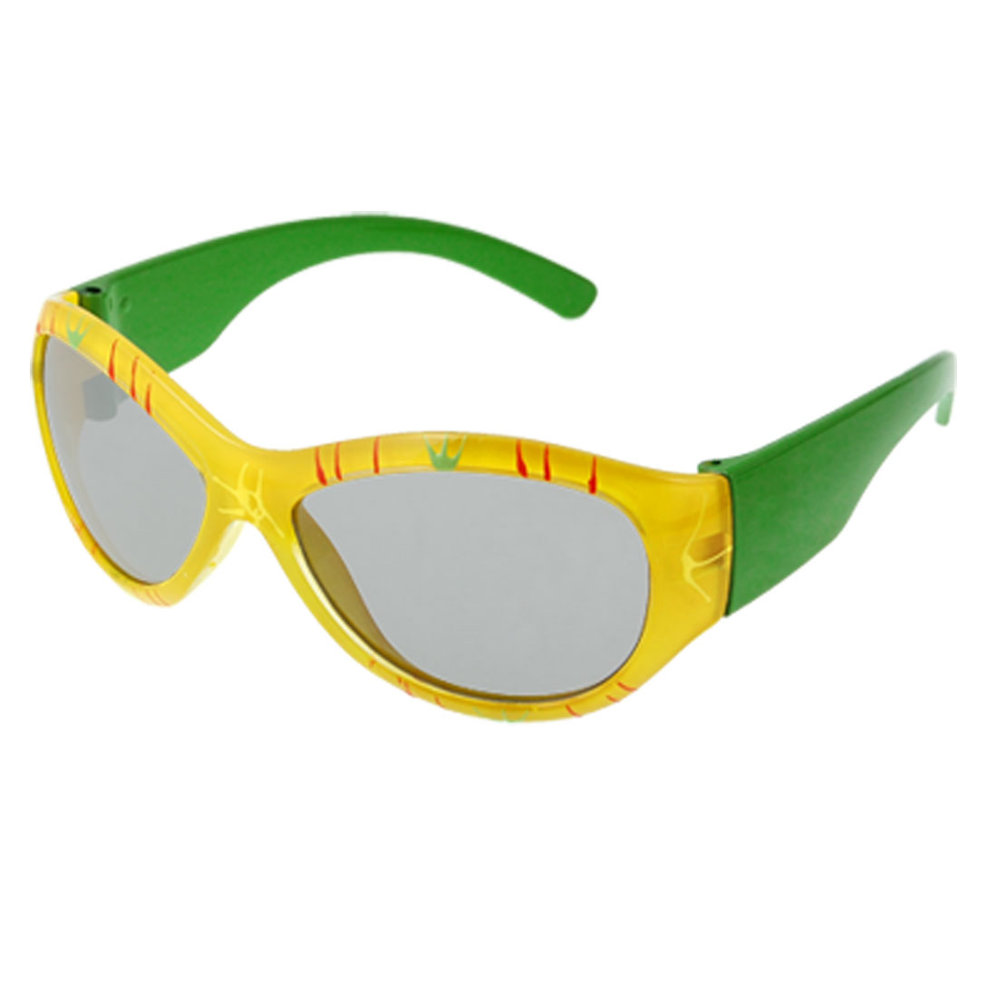 Yellow Printed Rim Green Plastic Arm Sunglasses for Children