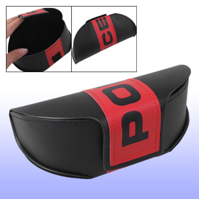 Black Red Faux Leather Hook and Loop Fastener Closure Glasses Case Holder