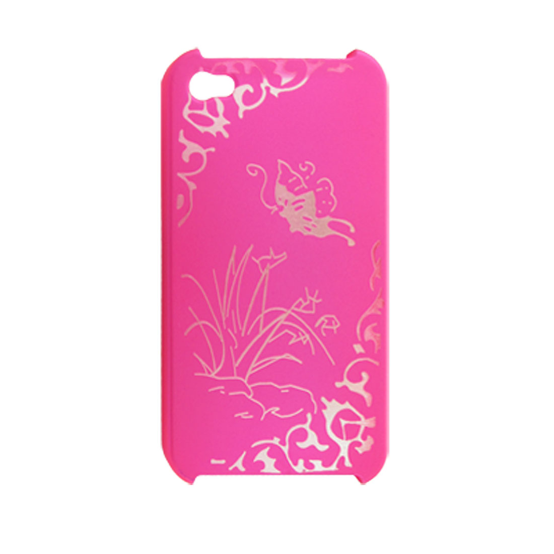 Non Slip Hot Pink Hard Plastic Case w Screen Protector for iPhone 4 4G
