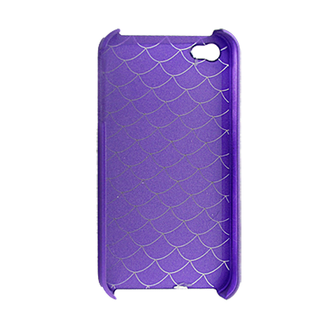 Fish Scale Non Slip Purple Cover Case w Screen Guard for iPhone 4 4G