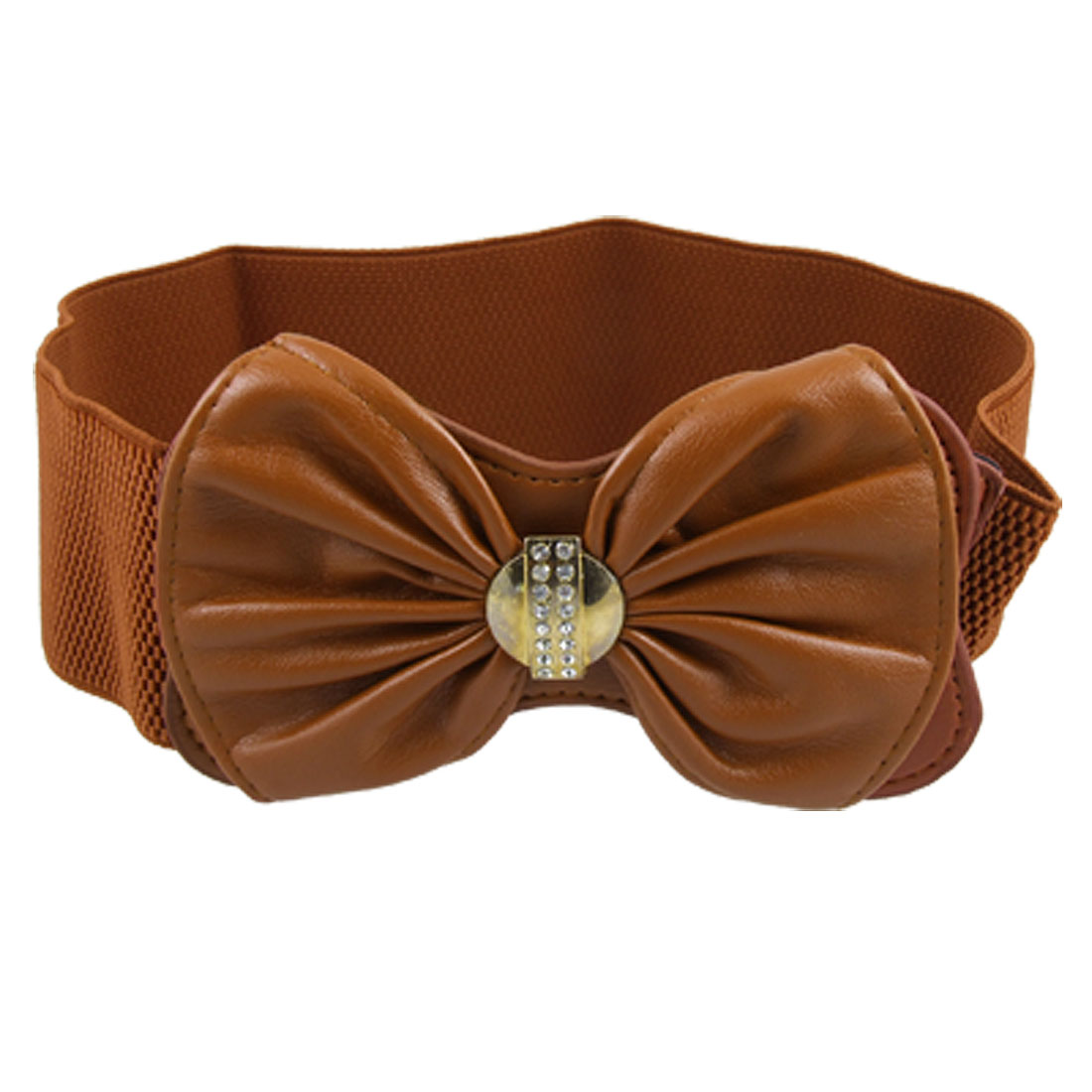 Lady Brown Faux Leather Rhinestone Decor Bowknot Buckle Stretch Waist Belt
