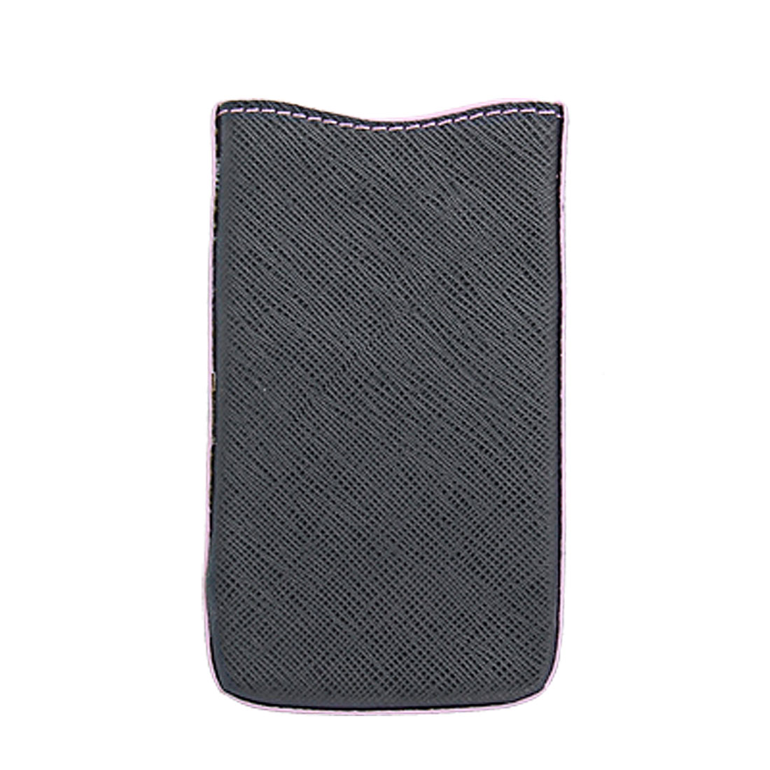 Pink Edge Faux Leather Pull Up Pouch Black for iPhone 4