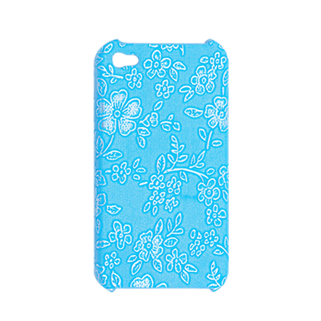 Blue Nonslip Hard Flower Case Cover for iPhone 4 4G