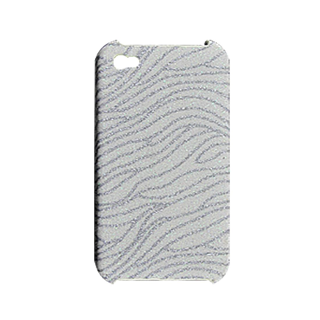 Skidproof Glittery Zebra Print White Silver Tone Hard Case for iPhone 4 4G