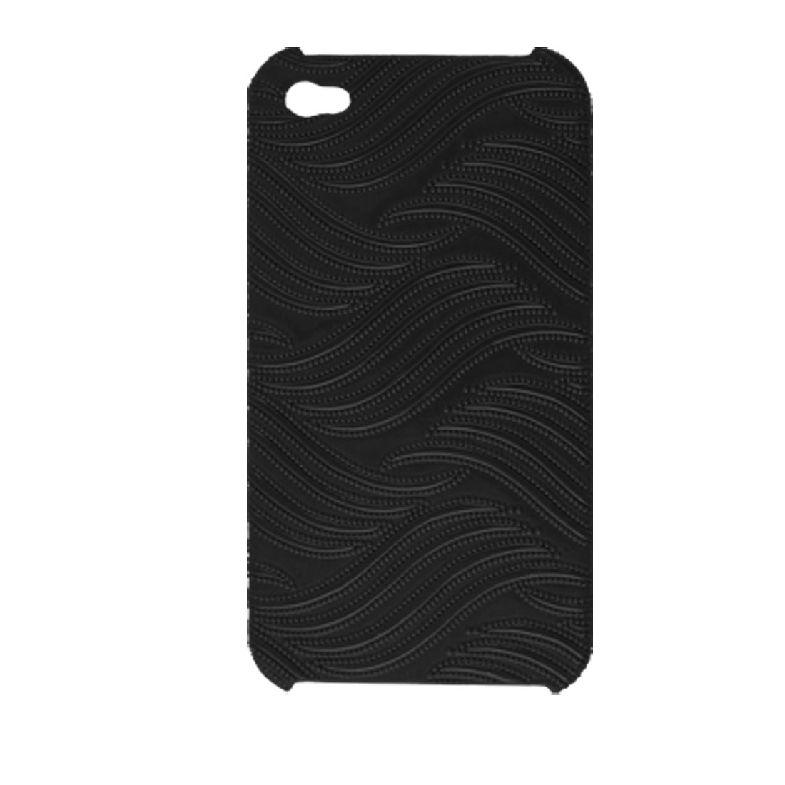 External Texture Black Faux Leather Covered Hard Plastic Cover for iPhone 4