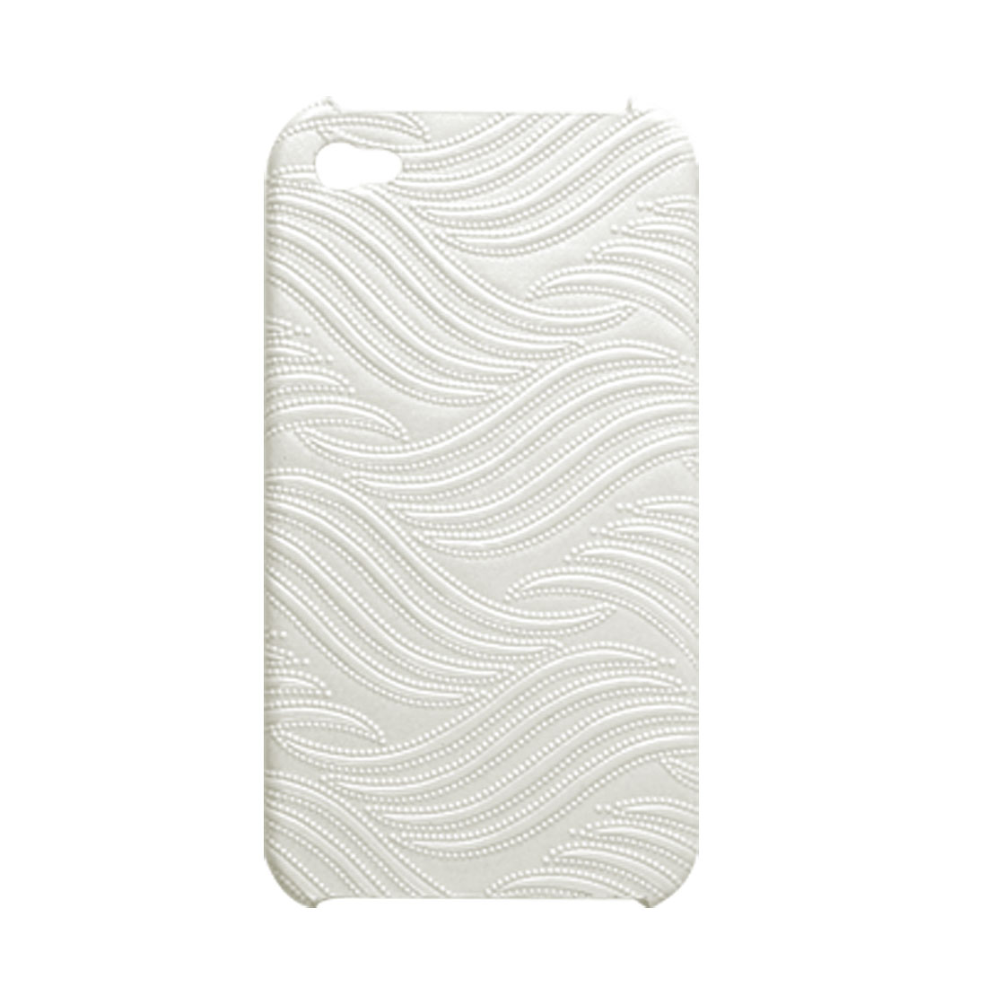 White Texture Faux Leather Coated Hard Plastic Cover for iPhone 4