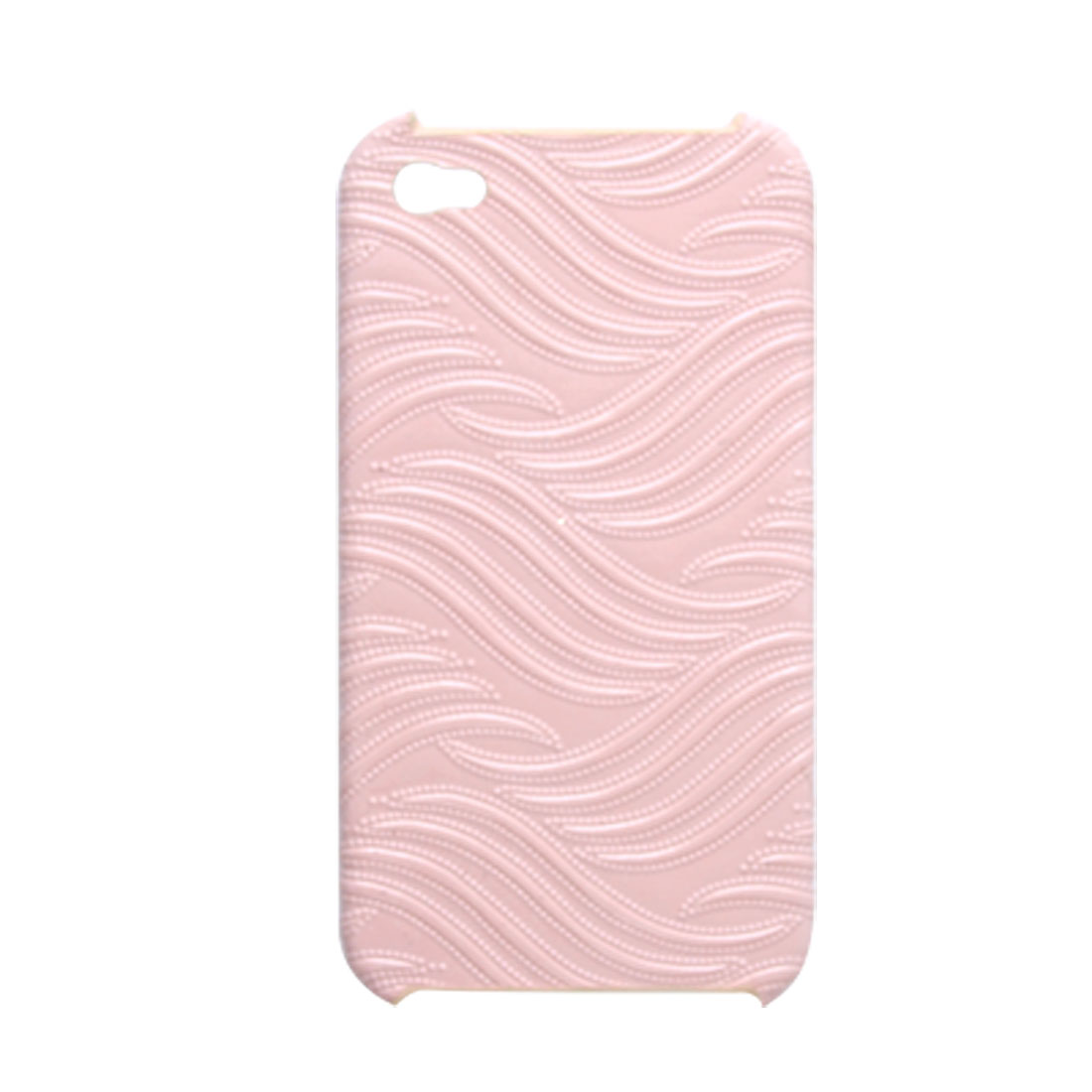 Pink Texturing Faux Leather Covered Hard Plastic Case for iPhone 4 4G