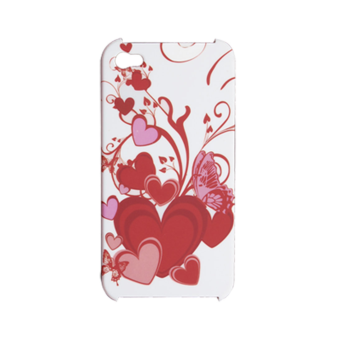 Red Heart Pattern Rubberized Hard Plastic Case for iPhone 4 4G