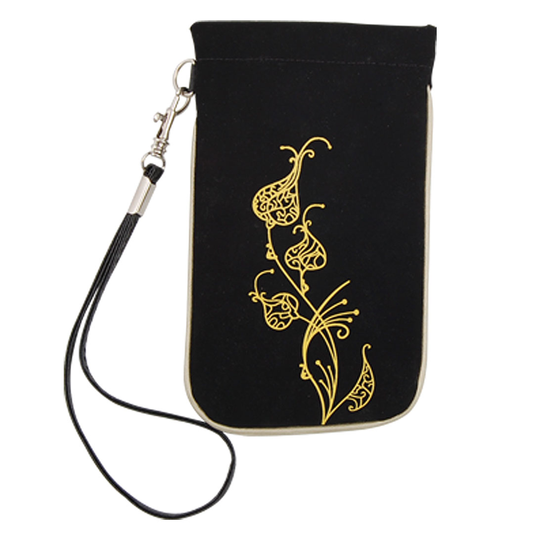 Yellow Floral Style Black Sleeve Case with Strap for iPhone 3G 4